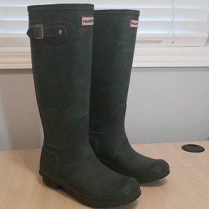 Hunter original tall green boots w23177 size 6